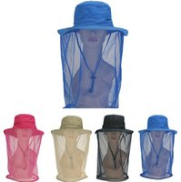 Wholesale Sun Protection Flap Hat - New Long Mesh Neck Flap Sun Shade UV Protection Block Golf Outdoor Cap Mosquito net Hat Fishing Hat Anti-UV Summer hats D474