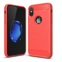 Wholesale Mint Brushes - For iPhone 8 X iphone 7 6 6s plus cell phone case Shockproof Soft TPU Carbon Fiber Brushed Silicone Case Cellphone Back Cover