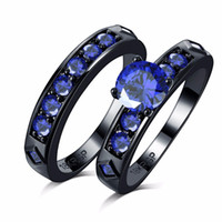 Wholesale 18k Gold Alliance - Never fade shiny blue Cubic Zircon Engagement couple Rings Sets 18k black Gold filled Wedding alliance For Women
