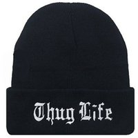 Wholesale Thug Life Knitted Hats - Wholesale Black Letter Hat for Men THUG LIFE Knitted Hats Male Female Winter Sport Skullies Women Casual Caps