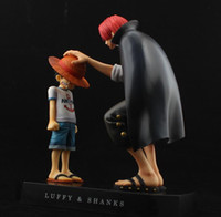 Wholesale One Piece Shanks Toy - One Piece action figures Anime Straw Hat Luffy Shanks red hair ornaments gift doll toys 15cm child luffy models pvc collection