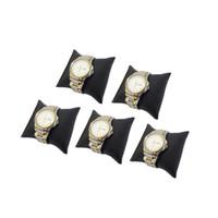 présentoir oreiller noir achat en gros de-Livraison Gratuite 5 pcs Noir PU bijoux Bracelet affichage coussin oreiller boîte à bijoux oreiller montre coussin