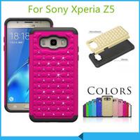 Wholesale Diamond Xperia - Luxury bling case Armor Hybrid Diamond Case Cover For Sony Xperia Z5 Z4v Z4 Mini E4 M4 E4g Z4 Z3 mini