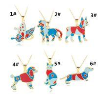 Wholesale Unique Pet Gifts - 2017 newest Wholesale-Newest Unique Colorfull Dog Pendant Necklace Dog Pet Jewelry Lovers Gift
