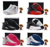 Wholesale Purple Wing Shoes - Kids Basketball Shoes Retro 12 Boys Children's Girls Youth OVO Flu Game French Gamma Blue The Master Wings Valentines day Pink 11C-3Y 28-35
