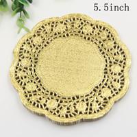 Wholesale paper lace doilies - Wholesale- SS029, 5.5'' Round Gold Paper Lace Doilies Placemat Craft Doyleys Wedding Tableware Decoration 50Pcs Lot