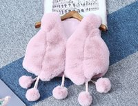 Wholesale Imitation Rabbit Fur - Girls waistcoat girls rabbit fur clothes imitation fox fur coat kids pompon tassel waistcoat children winter faux fur princess outwear R0247