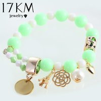 Wholesale Name Beads Wholesale - Wholesale-17KM 7 colors beaded fashion cute hearts romantic roses name Eiffel simulated pearl beads bracelet jewelry for women