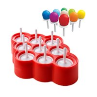 Wholesale Ice Cream Stickers - New Silicone Mini Ice Pops Mold Ice Cream Ball Lolly Maker Popsicle Molds With 9 Stickers
