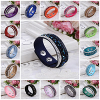 Wholesale crystal wrap bracelets - Charm Bracelet For Women New Fashion Wrap Bracelets Slake Leather Bracelets With Crystals Factory Discount Prices, Leather Bracelet