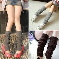 Wholesale White Slouch Socks - Wholesale-Women Winter Warm Knit High Knee Leg Warmers Crochet Slouch Boot Socks