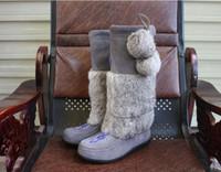 pele de coelho cabeça venda por atacado-Mulheres estilo Canadá Muks Marca genuína bota de neve de couro Plana Rodada cabeça 100% real tamanho de bota de pele de coelho 38-42