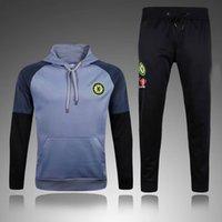 Wholesale Men S Sports Jackets - .2017 Tracksuit Chelsea Soccer Hoodie Jacket Jogging Football Tops Coat Pants Sports Training Suit Men Adults Football Track Suit