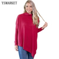 2018 Mode Frauen Weiche Faux Poncho High Neck Pullover Solide Langarm Lose Fleece Strickpullover E250431