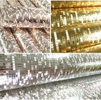 Wholesale Luxury Gold Foil Mosaic Wallpaper - Luxury glitter mosaic wallpaper background wall wallpaper gold foil wallpaper silver ceiling wallcovering WP038