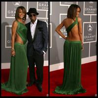 rihanna uzun elbiseler toptan satış-Rihanna Kırmızı Halı Ünlü Elbiseleri 2016 Seksi Bir Omuz Aç Geri Şifon Uzun Yeşil Akşam Balo Elbise Örgün Abendkleider