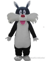 Wholesale Cat Mascot Head Costumes - SX0723 With one mini fan inside the head black and white cat mascot costume for adult to wear for sale