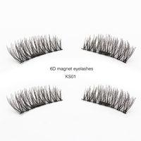 ingrosso strisce false ciglia-Genailish 6D Ciglia magnetiche Ciglia finte Natural Long Full Strip Magnet Lashes Ciglia finte fatte a mano