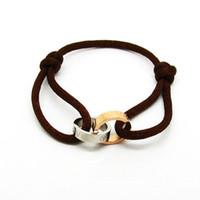 pulseras de cuerda para mujer al por mayor-Moda caliente cuerda de mano de acero de titanio amor pulsera doble anillo de tornillo pulsera para mujeres hombres joyería al por mayor de alta calidad h