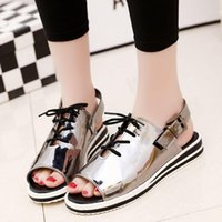 Wholesale Korean Shoes Open Toe - 2016 summer new fish head sandals Korean version of casual female student flat with flat sandals open-toed shoes lot drop shipping