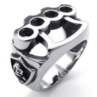 Wholesale Skull Rings Box - 073319-Wholesale Fashion Elegant Cool Pop Mens Stainless Steel Ring, Skull Boxing Glove, Black Silver Size: 7-14