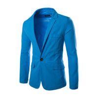 ingrosso vestiti casuali sottili in cotone-Men Casual Blazer in cotone cappotti slim fit Suits Royal Blue marca del vestito da maschio a buon mercato Giacche Blazer plus costume di formato homme