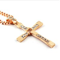 Wholesale Silver Cross Necklace Male - Wholesale-Classic Cross Necklace Crystal Gold  Silver Cool Male Rhinestone Pendant Necklaces Stainless Steel Men Vintage Jewelry H5075 P5