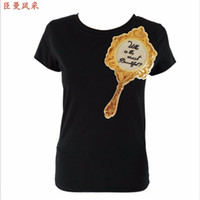 футболка с зеркалом оптовых-Wholesale- New Women Sequins T-shirt Patchwork Casual Summer T-shirt Mirror Tshirt Top Tees Black/White Chenmanfengcai