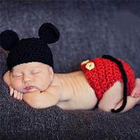 neugeborenes baby häkelarbeit kleidung großhandel-Baby Crochet Knit Kostüm Foto Neugeborenen Fotografie Requisiten Mädchen Jungen Outfits Fotografia Kleidung und Accessoires