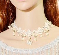 2016 New Fashion Luxury Pearl Bridal Necklace Beads and Flowers Pingentes de diamante White Lace Ribbon Choker Necklaces Wholesale Frete grátis