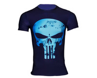 Wholesale Marvel T Shirts Wholesale - Wholesale-Men T Shirt Marvel Punisher Compression Shirts Outdoor Sport Bodybuilding Gym Fitness Jersey Casual Tees Camisetas Hombre