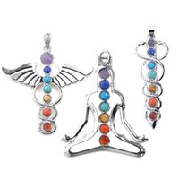 "Wholesale Power Chakra - vogue 7 chakra healing stones pendant for necklace making,3 style- yoga angel sword,2.3""-2.5"""