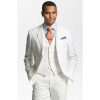 ingrosso maglia bianca di tela-Custom Made Bianco Lino Abiti Uomo Formali Skinny Summer Beach Abiti da Sposa Tuxedo 3 Pezzi Uomo (Giacca + Pantaloni + Gilet) K370