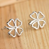 Wholesale Clover Nose Rings - Fashion Hollow Clover Flower Stud Earrings For Women Simple White Piercing Earring Jewelry