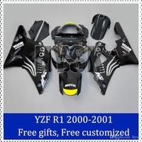 Wholesale Custom Sportbike Fairings - Go!!! fairing kits set for Yamaha 00 01 YZF-R1 Custom Painting Motorcycle Fairing Black sportbike fairing set with free gifts free custom