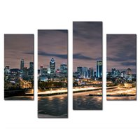 Wholesale paintings cityscapes - City Landscape Paintings Wall Art Decor Vancouver Cityscape at Night 4 panels Picture Print on Canvas for Modern Home Decoration