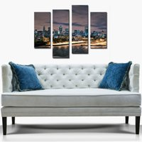 Wholesale skyline oil for sale - Group buy City Landscape Paintings Wall Art Downtown Skyline Buildings Night Panel Picture Print on Canvas for Modern Home Decoration