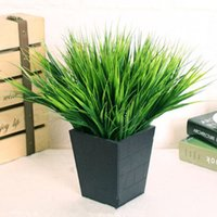 Wholesale Rustic Artificial Flowers - Fashion Hot Green Grass Artificial Plants Plastic Flowers Household Dest Rustic Decoration Clover Plant for Wedding Party