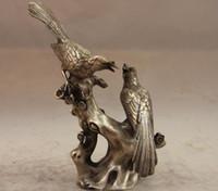 Wholesale Cheap Metal Flower Art - Wholesale cheap China Copper Lucky Bird 2 Magpie Plum blossom Flower Art Statue