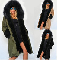Wholesale Women Fur Collar Thicken Fleece - 2016 New Winter Parkas Women Fleece Winter Cotton Coat Fashion Fur Collar Hood Army Green Jacket Slimming warm thickening long coat
