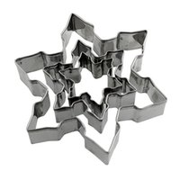 Wholesale Snowflakes Cake Mold - 220set 3pcs 1set New Stainless Steel Star Snowflake Biscuit Cutter Cookie Fondant Cake Mould Icing Mold DIY Baking Tool ZA0683