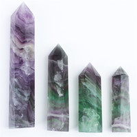 Wholesale fluorite crystal point - HJT 4pcs wholesale 290g hot sell New crystal point natural Fluorite points quartz reiki healing point crystal Cure chakra stone