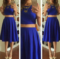 Wholesale Two Piece Cute Short Dresses - Royal Blue Two Pieces Homecoming Dresses 2017 A Line Knee Length Cute Short Sleeveless Prom Party Cocktail Gowns Summer Chiffon Junior Dress