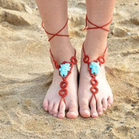 Wholesale Sexy Foot Wear - Summer Sexy Crochet Barefoot Sandals Flower Toe Ring Anklet Sandbeach Wedding Bridal Foot Design Jewelry Beach Pool Wear Valentine Gifts