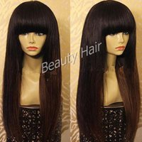 Wholesale long chinese bang wigs - Natural color long straight silk base full lace human hair wigs lace front wig with bangs