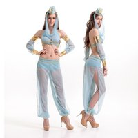 Wholesale Costumes Arabic - 2016 New Adult Womens Sexy Halloween Party India Arabic Lady Costumes Outfit Fancy Cosplay Top&Pants