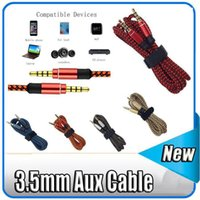 Wholesale Cable Hdmi Stereo - 100pcs 3.5mm Auxiliary AUX Extension Audio Cable Unbroken Metal Fabric Braiede Male Stereo cord 1M 1.5M 3M for MP3 Speaker