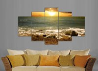 Wholesale Picture Photo Frame Wall Set - 5pcs set Sunrise print painting Home Decoration paintings for living room modern wall to wall photos frames picture F 859