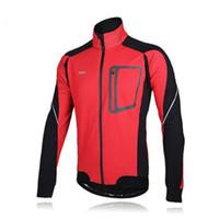 bisiklet jarse ceketi toptan satış-2016 ARSUXEO Rüzgar Geçirmez Yansıtıcı Ceketler Uzun Kollu Kış Termal Polar Jersey Set Bisiklet Bisiklet Bisiklet Giyim erkek Ceket 3 Col