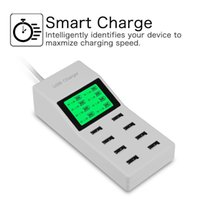 cargador de pared múltiple al por mayor-8 Adaptador USB multipuerto Puerto de escritorio Cargador de pared inteligente Pantalla LED Estación de carga